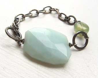 Oxidized Sterling Silver Large Link Bracelet with Big Amazonite Focal Bead and Prehnite Stone - Emily