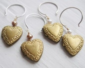 Lil' Locket Sweetheart Romantic Earrings in Vintage Brass and Sterling - Circa Series