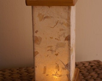 Candle holder, Candle, luminary, handmade paper, paper, wood, flameless, lighting, bedroom decor, oriental decor, shoji screen