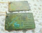 Verdigris Post Card Earrings, Antique Vintage Brass Earrings, Shabby Chic Earrings
