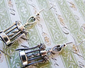 Tibetan Silver Earrings,  Silver Wine Bottle Opener Earrings, Wine Lover Earrings