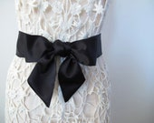 Black Sash, Bow Belt, Wedding Sash, Bridesmaid Sashes, Matte Satin Sash, shorter length