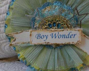 Crepe Paper Prize Ribbon Medallion Boy Wonder Blue & Yellow