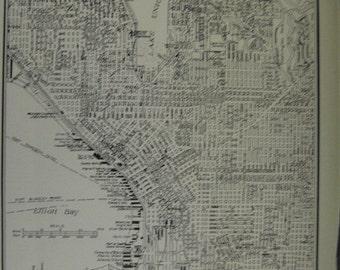 Old City Map of Seattle Washington