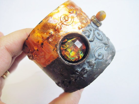 Lost Star. Cosmic Victorian Gypsy Rustic salvaged escutcheon Cuff gold leaf Lampwork.