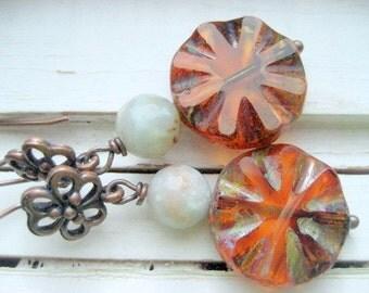 Little blue spruce dangle earrings, Czech glass and agate beaded earrings, copper ear wires