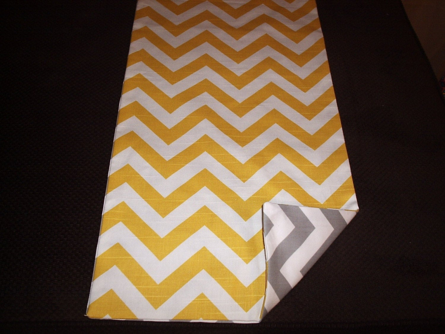 yellow and gray reversible chevron table runner