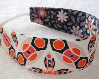 Orange grey white reversible child headband,  cotton headband, baby girl headband, m2m Matilda Jane cloth toddler flowers party favor gift