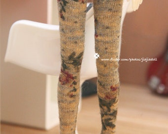Jiajiadoll - camel brown flower legging fits Momoko or Blythe or Misaki