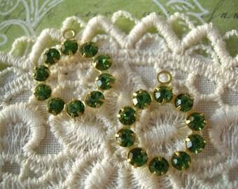 2 Vintage Swarovski Rhinestone Drop Hoop Charm Grass Green 1-Loop Findings
