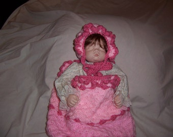 Pink Cocoon and Bonnet