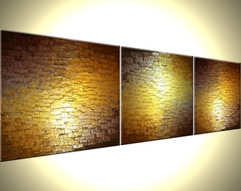 Abstract Painting, Textured Metallic Art, Large Gold Paintings, Original Bronze Reflective Paintings, Fine Art by Lafferty - 72 X 18