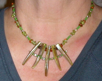 Necklace of Green Dyed Mother of Pearl Peridot Amber and Fresh Water Pearls