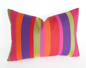 Vibrant Color Block Pillows, Boho Pillow Covers, Colorful Striped Pillows, Unique, Eclectic, Oblong Lumbar Cushions 14x20