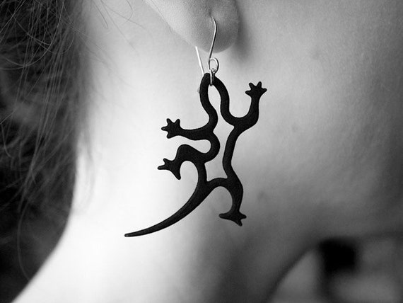 Gecko Earrings, Resin and Silver Jewelry for Lizard Lovers