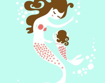 """8X10"""" mermaid mother & baby daughter giclee print on fine art paper. light turquoise, pink, brunette."""