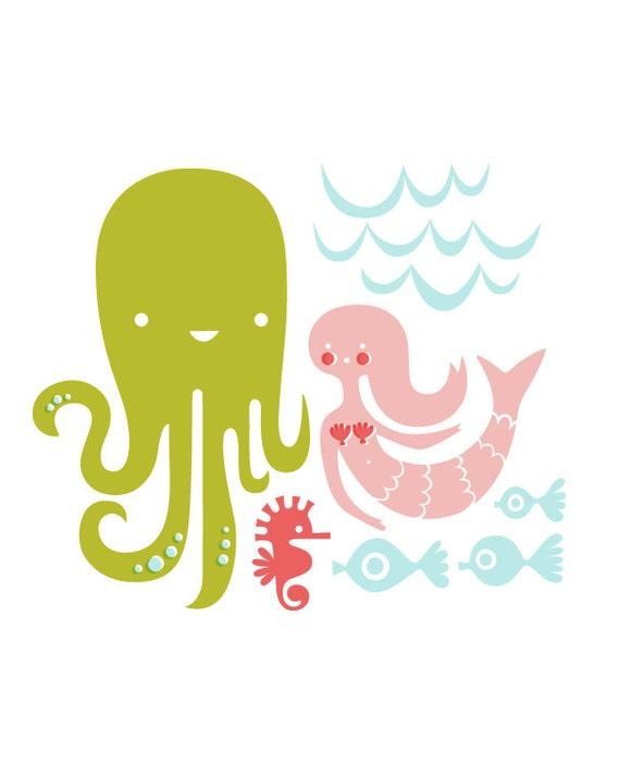 octopus garden giclee art print on fine art paper. 8X10. aqua, leaf green, coral, pink.