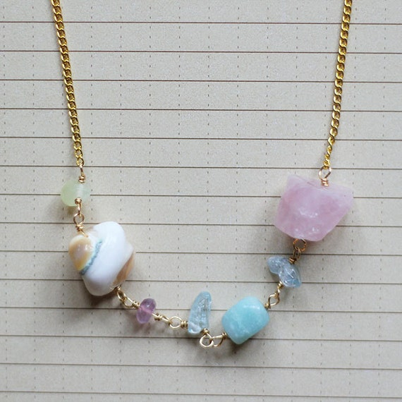 Rock Charm Necklace with pearly blue and pink stones