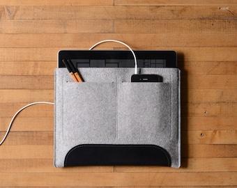 iPad Air Carryall - Grey Felt and Black Leather Patch, Pocket