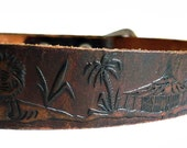 CLAUDE FRench Vintage 70s Handtooled Motifs Leather Belt