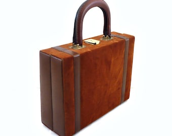 MIA French Vintage 50s Brown Suede Briefcase / Beauty Case