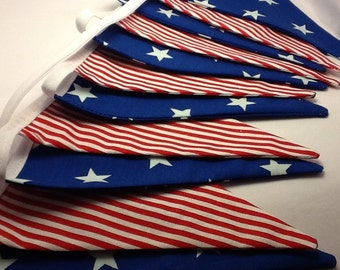 Long Stars and Stripes Bunting banner - Star Spangled Banner 30ft long 48 flags