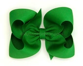 Emerald Green Boutique Bow, 4 inch Grosgrain Bow, No Slip Basic Bows for Girls Baby Toddlers
