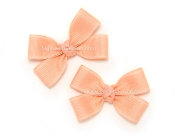 Pair of Pigtail Bows for Girls, Mini Pinwheel Bows for Baby, 2 inch Hair Bows, Coral Pig Tail Set, Double Pinwheel Bows, 138 Colors