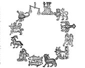 ZODIAC signs circle - Astrology- CLING STAMP by Cherry Pie Art Stamps