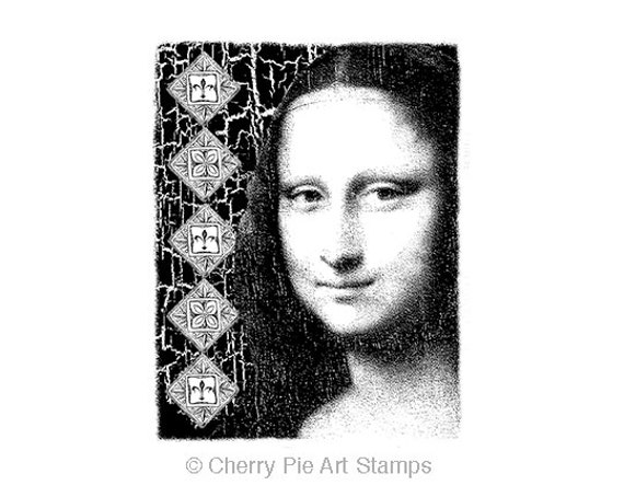 Mona Lisa- Leonardo da Vinci -CLING  rubber stamp by Cherry Pie