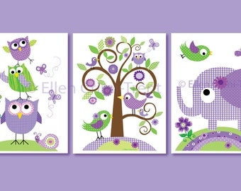 Kids Wall Art- Purple animals set