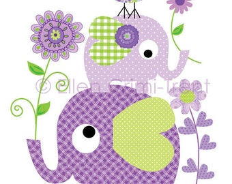 Kids Wall Art-  Purple Elephants and flowers
