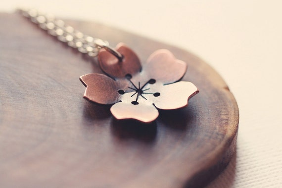 Large Cherry Blossom necklace in copper
