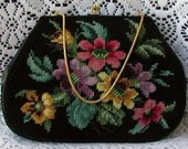Beautiful Colorful Floral Needlepoint Vintage Purse