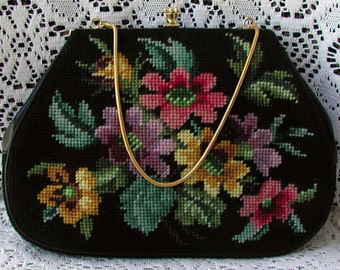 Beautiful, Colorful, Floral, Needlepoint, Vintage, Wedding, Handbag, Purse