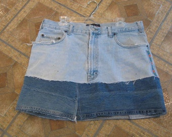 "Upcycled denim Skirt size 38"" Waist"