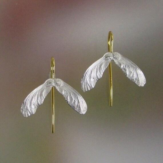 Japanese Maple Seed Earrings Sterling Silver, 14k Earwires, Drop Earrings, Botanical Earrings, Unique, Made to order