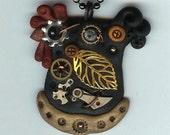 Steampunk Chicken Hen Necklace Polymer Clay Jewelry