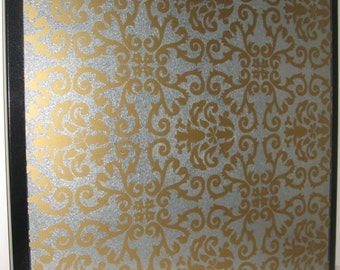 Gold Damask .. Magnet Dry Erase Steel Memo Board / home decor / decorative art / office organize / housewarming gift /desk / friend coworker
