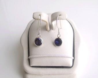 Blue Sapphire Earrings Bezel Dangle Sterling Silver Made to Order