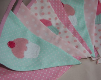 Cupcake Tea Party Banner Bunting Pink and Mint Green Custom made ideal for a Birthday Party or Celebration or Photo prop Custom Made