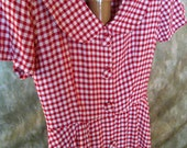 Fifties dress Size Medium red and white checked Swing skirt 50s vintage dress RETRO