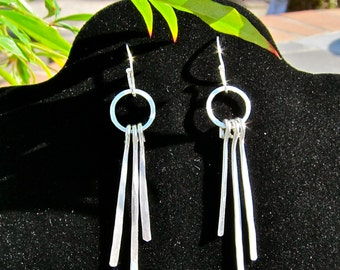 Handmade, Hammered, Argentium Sterling, Feather Earrings