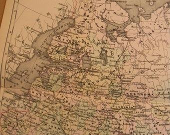 1903 Map Russia - Vintage Antique Map Great for Framing 100 Years Old