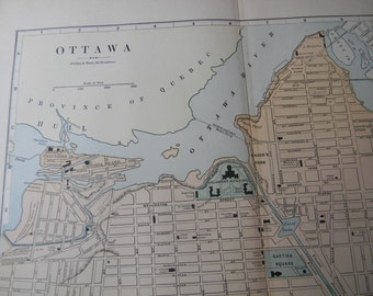 1887 City Map Ottawa Ontario Canada - Vintage Antique Map Great for Framing 100 Years Old
