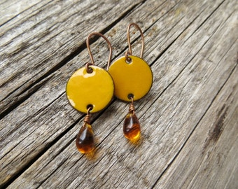 Orange Drop Earrings, Marigold Yellow Enamel on Copper with Honey Yellow Glass Beads