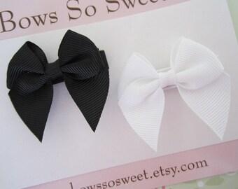 Black and White Hair Bow Clip Set...Girls Hair Bows...Girls Hair Clips