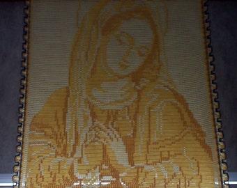 "Bonnie's Crochet Cotton Thread item Holy Virgin 18"" by 23.5"".. Art Work ..Wall Decor... WallHanging..Wall Art ..  OOAK"