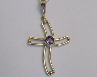 Gold Cross Necklace with Color Change Garnet