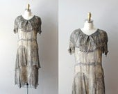 20s dress / 1920s dress / Illustré Feuille chiffon dress - DearGolden